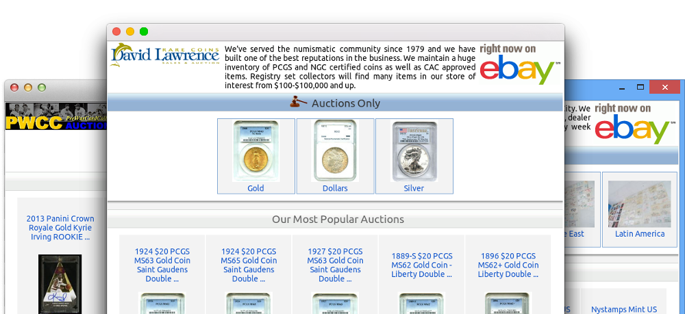 browsers displaying ebay shop